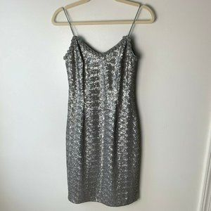 Mikael Aghal Dress Size 2 Silver Sequins Lined